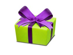 Green present box with purple ribbon as gift card