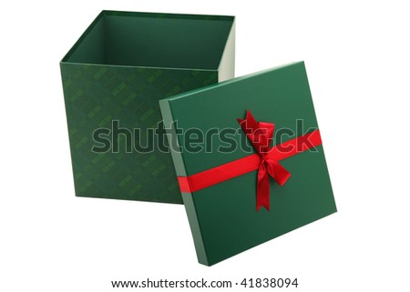 Green present gift box isolated on white with clipping path.