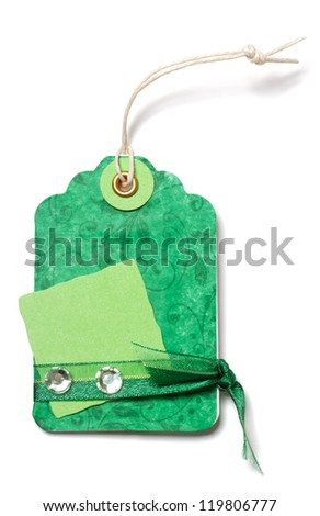 Green Price Tag with Ribbon and Decoration on White Background - Handmade