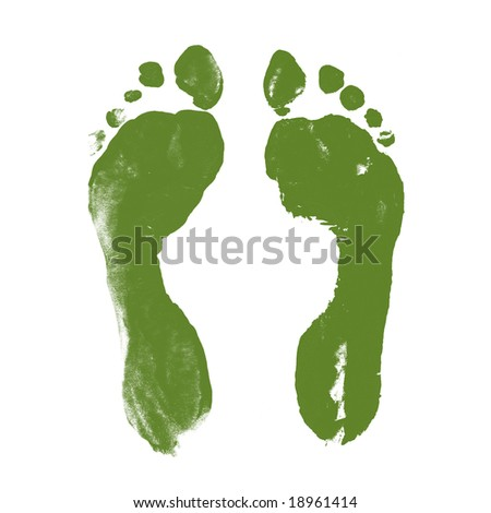 Green Prints of Human Feet