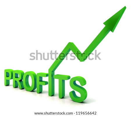 Green Profit Word Showing Income Earned From Business, Success,