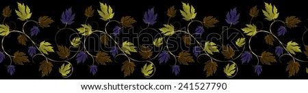 Green, Purple, Copper and Gold Leaves and Vine Border