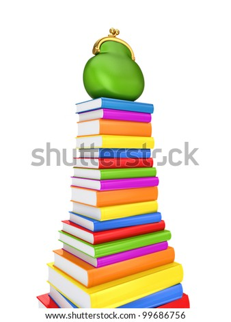 Green purse on a colorful books.Isolated on white background.3d rendered.