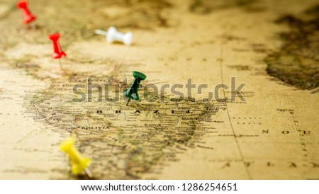 green pushpin marking a location on brazil map. #1286254651