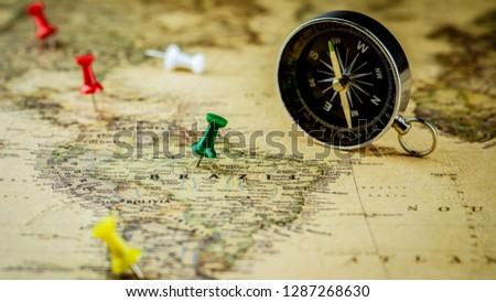 green pushpin marking a location on brazil map. #1287268630
