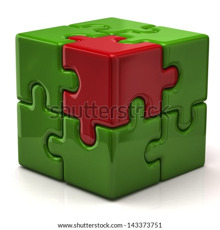 Green puzzle cube with one red piece