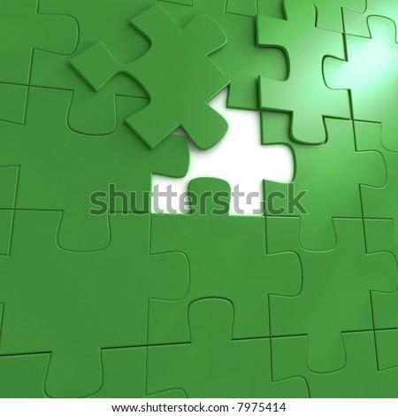 green puzzle - 3d render illustration