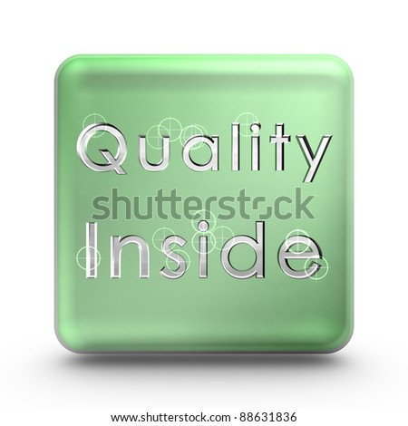 Green quality cube icon. Quality is everywhere - stock photo