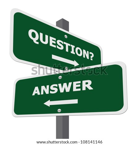 Green Question and Answer Street Sign Isolate on White Background