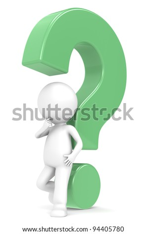 Green question mark . 3d human character with a Green question mark