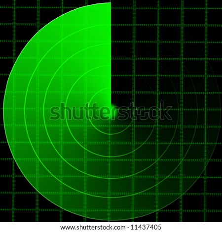 green radar screen on a black background
