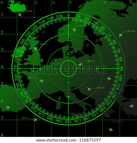 Green radar screen over square grid lines and map of Europe territory, raster copy