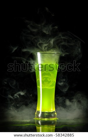 Green radioactive alcohol with biohazard symbol inside, isolated on black background