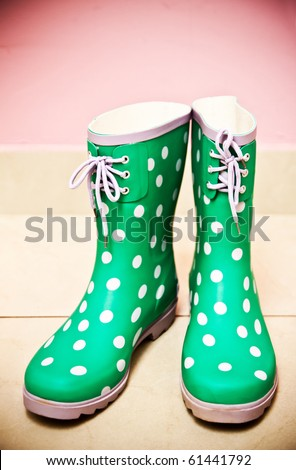 Green Rain Boots On Pink Background Stock Photo 61441792 ...