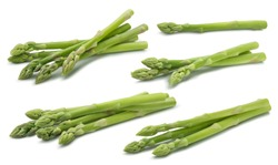 Green raw asparagus set 2 isolated on white background