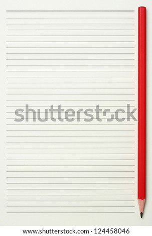 Green read note paper with thin line and red pencil