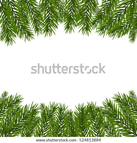 Green, realistic fir branches. Fir branches with the top and bottom of the picture. Isolated on white background. Christmas raster illustration #524813884