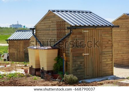 Green recovery of rainwater outside in town garden Photo stock ©