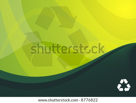 Green recycle background ideal for presentations - portrait version