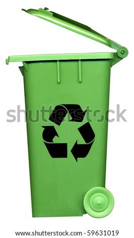 green recycle bin - stock photo