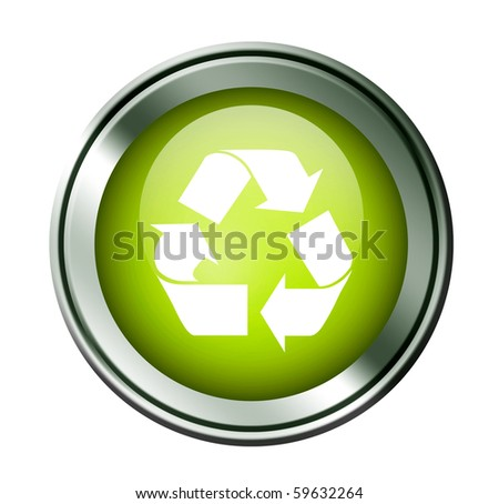 Green recycle button on chrome frame. White background