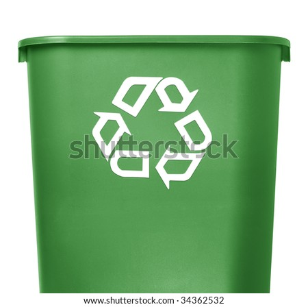green recycle container on white background