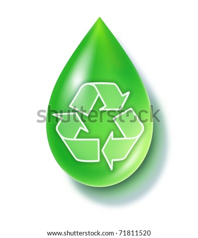 Green recycle drop representing a reusable energy and new responsible environmental clean technologies.
