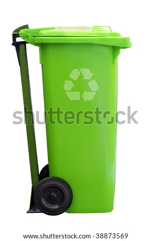 green recycle garbage can isolated on white background