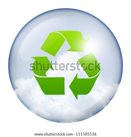 Green Recycle Sign in Circle Glass Style Icon Isolate on White Background