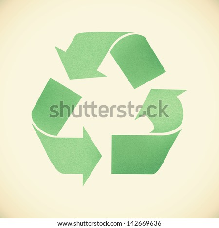 Green recycle sign recycled paper on vintage tone  background