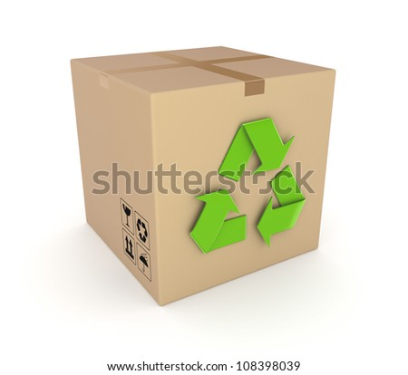 Green recycle symbol on a carton box.Isolated on white background.3d rendered.