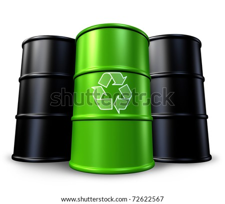 Green recycling barrel with oil drums in the background representing toxic waste management and environmental clean energy alternatives.