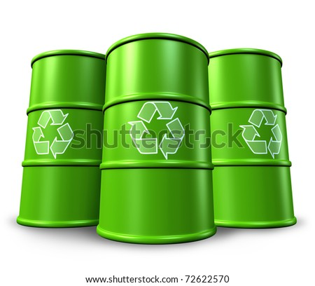 Green recycling barrels and drums in the background representing toxic waste management and environmental clean energy alternatives.