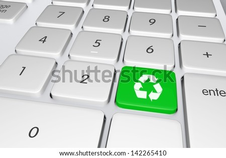 Green Recycling Button on the Keyboard. Push to Recycle! Ecology Online Education Illustration.