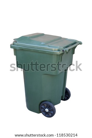 Green recycling container; isolated on white background