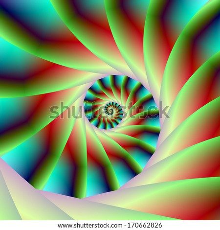 Green Red and Blue Spiral Steps / Digital abstract fractal image with a spiral step design in green, red and blue.