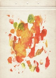 Green, red, orange and yellow watercolor blotch. Abstract painting on old paper. Vintage style.