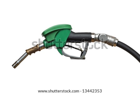 green refueling hose isolated on white close up