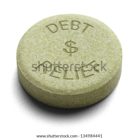 Green Relief Medicine for Debt isolated on a White Background.