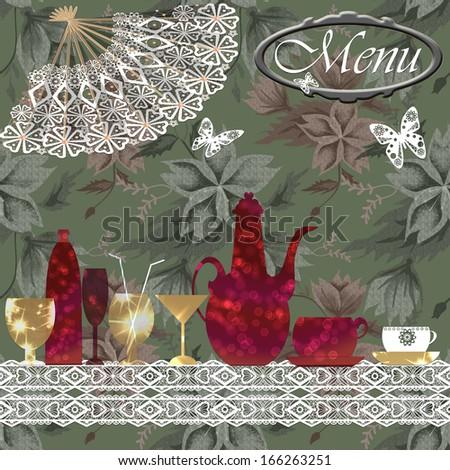 Green restaurant menu design with floral background