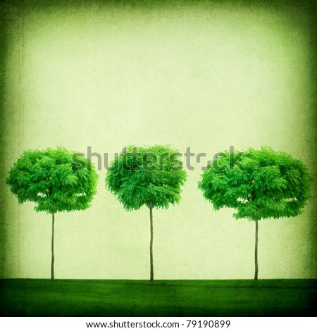 Green Retro  Background.Growing Trees