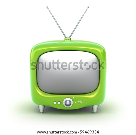 Green retro TV Set. Isolated on white background. My own design.