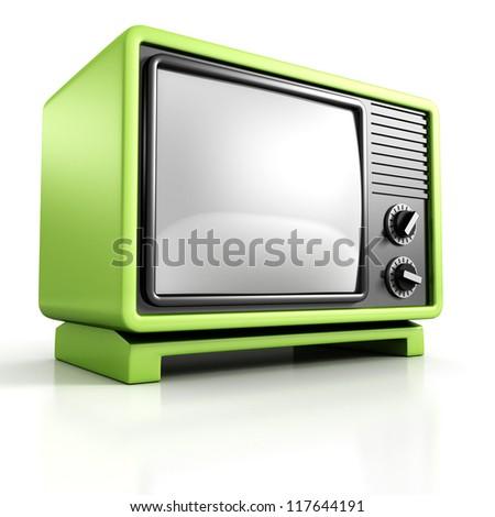Green retro vintage  TV Set on white background