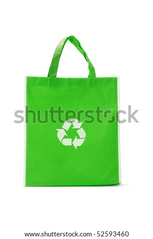 Green reusable shopping bag with recycle symbol on white