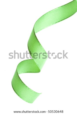 green ribbon curl isolated on white
