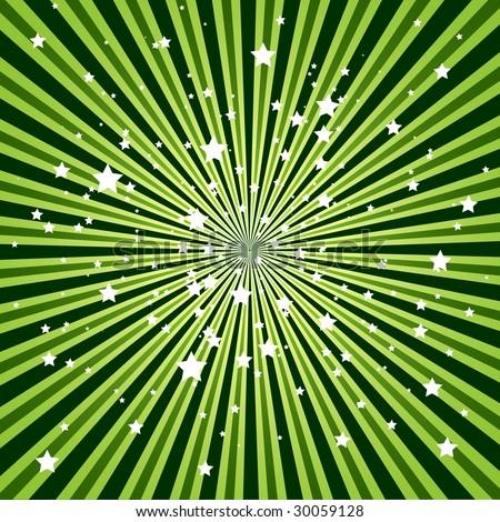 green ribbon optical illusion with stars
