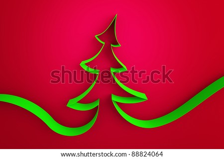 green ribbon tree on a red background - stock photo