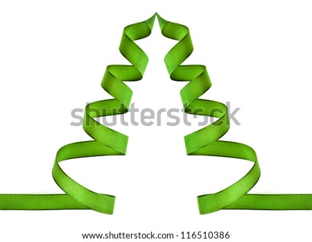 green ribbon tree with copy space isolated on white