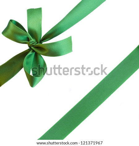 green ribbon with bow isolated on white background
