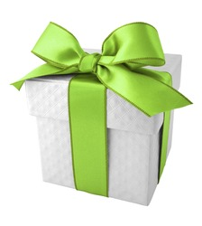 Green Ribbon with White Gift Box on white background